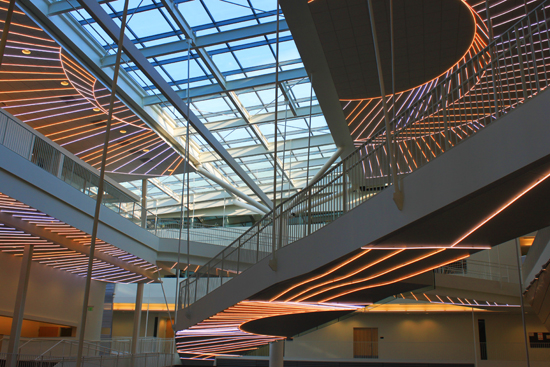 Large atrium of the Robertson Life Sciences Building at Oregon Health and Science University