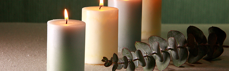 A soothing row of lit candles next to a plant