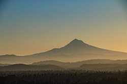 Photo of Mount Hood in the fog at sunrise