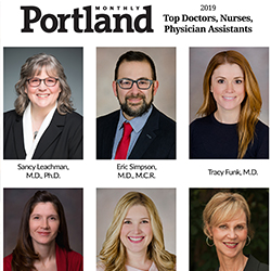 Portrait photos of Drs. Sancy Leachman, Eric Simpson, Tracy Funk and Heather Onoday, F.N.P, Kim Sanders, P.A.-C., and Susan Tofte, F.N.P.