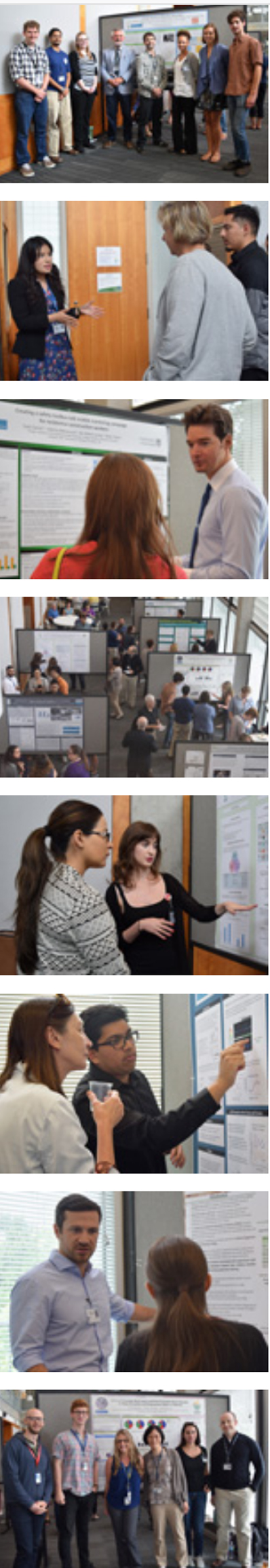 Images from the 2016 summer intern poster session where the interns presented their research in poster form and explained their research to the Institute's faculty and staff