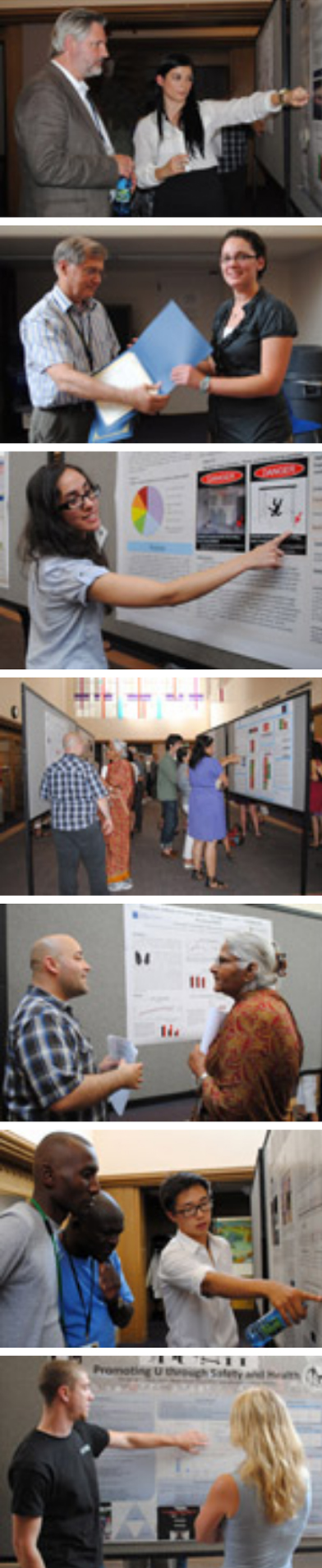Images from the 2012 summer intern poster session where the interns presented their research in poster form and explained their research to the Institute's faculty and staff