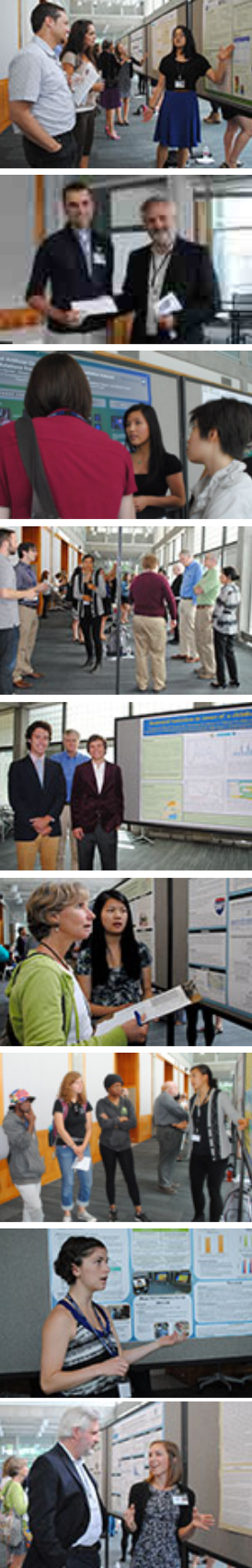 Images from the 2014 summer intern poster session where the interns presented their research in poster form and explained their research to the Institute's faculty and staff