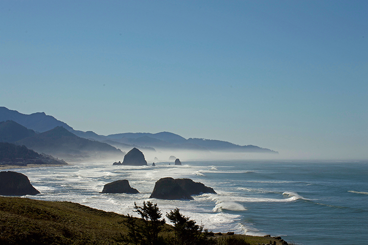 Ecola State Park beach off of the North Coast of Oregon with haystack rocks