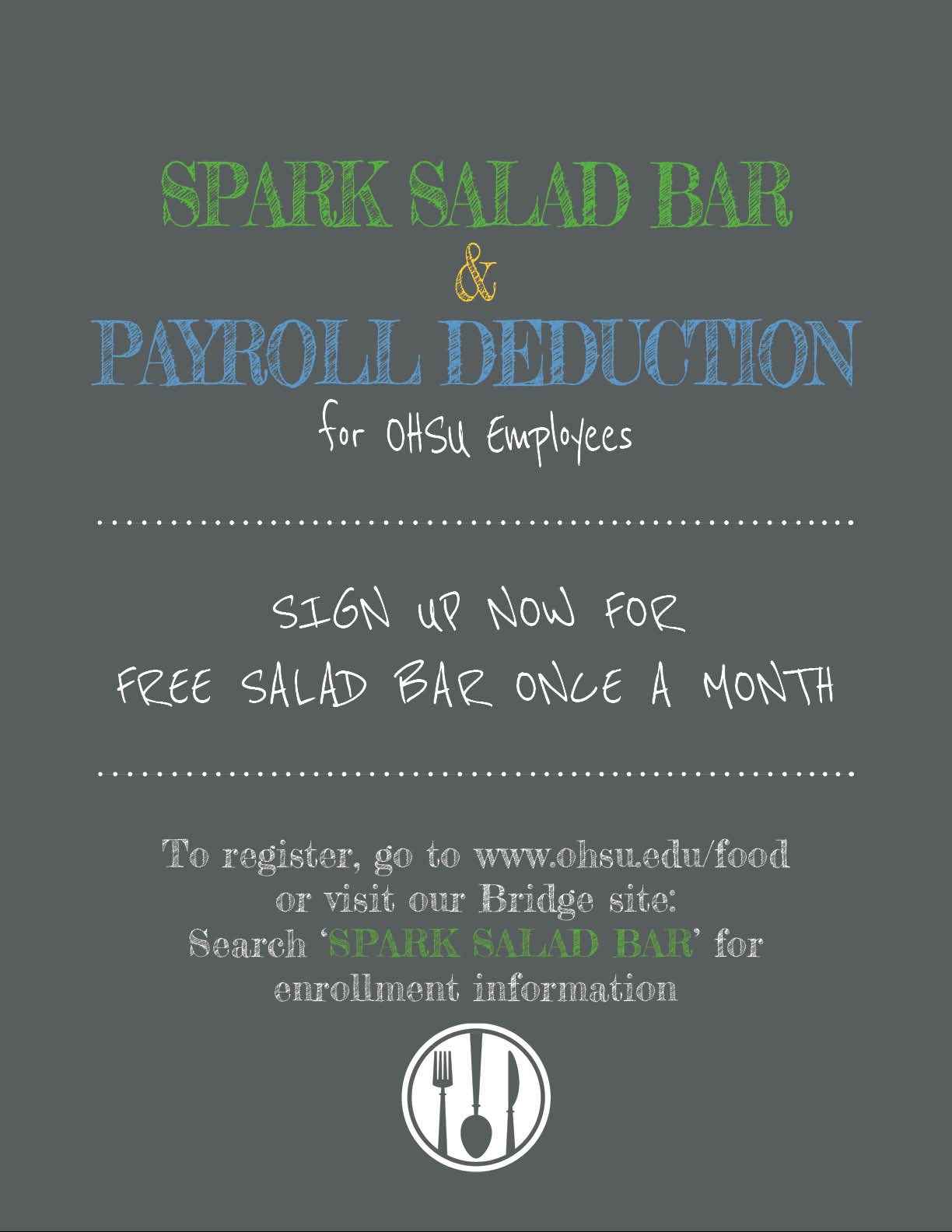 Spark Salad Bar and Payroll Deduction poster