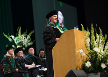 Dr. Peter Sullivan speaks at 2018 SOM Commencement Center