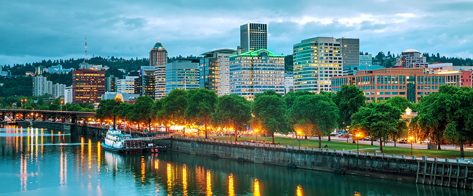 Image of the Willamette River and the city of Portland at twilight.