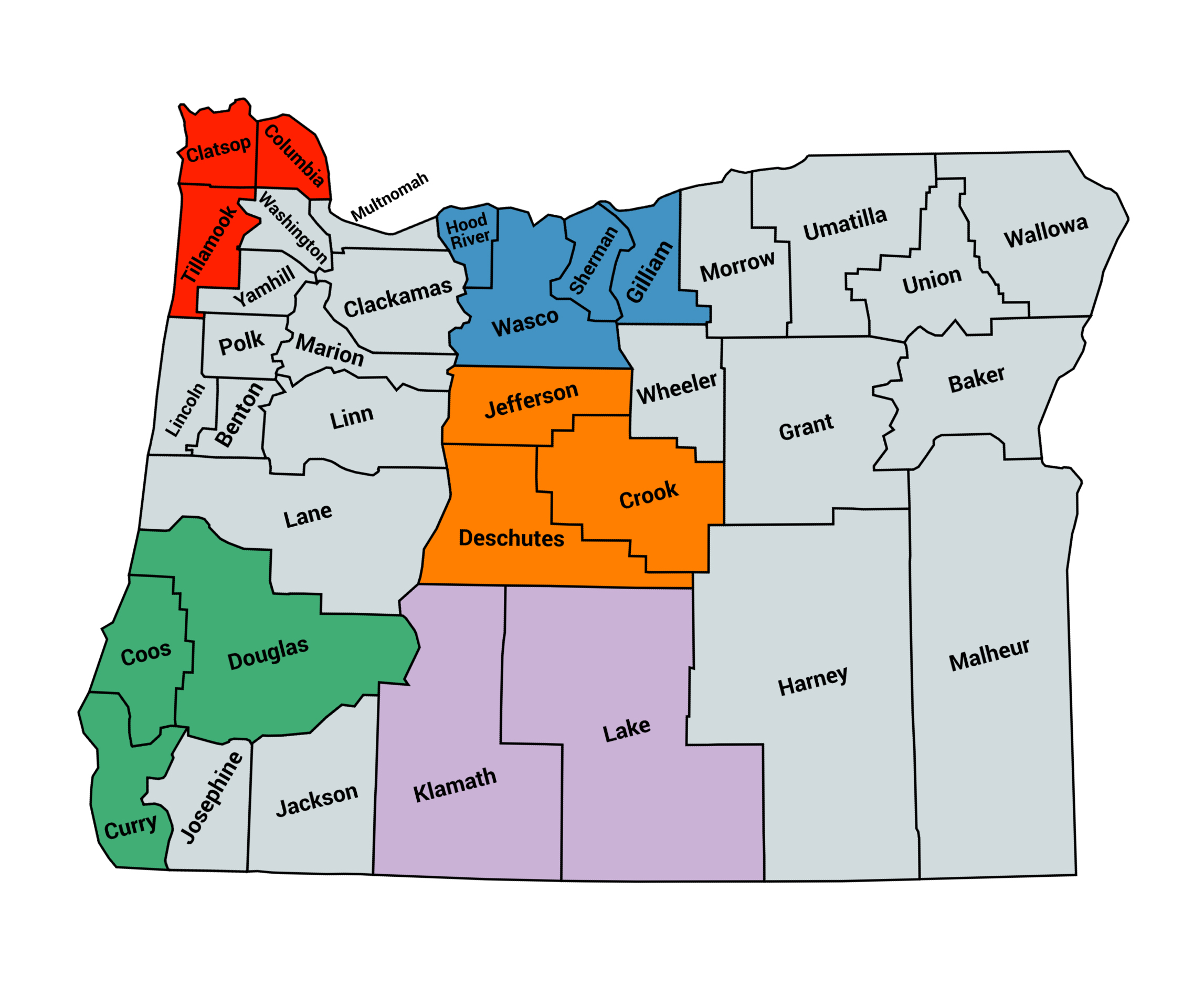 Map showing the liaison regions in Oregon for the Hub