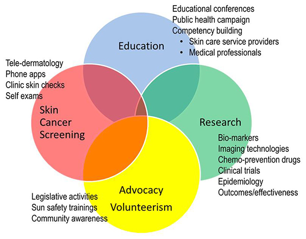 A venn diagram outlining the broad War on Melanoma™ plan of utilizing, education, research, advocacy/volunteerism, and screenings to decrease melanoma mortality in Oregon.