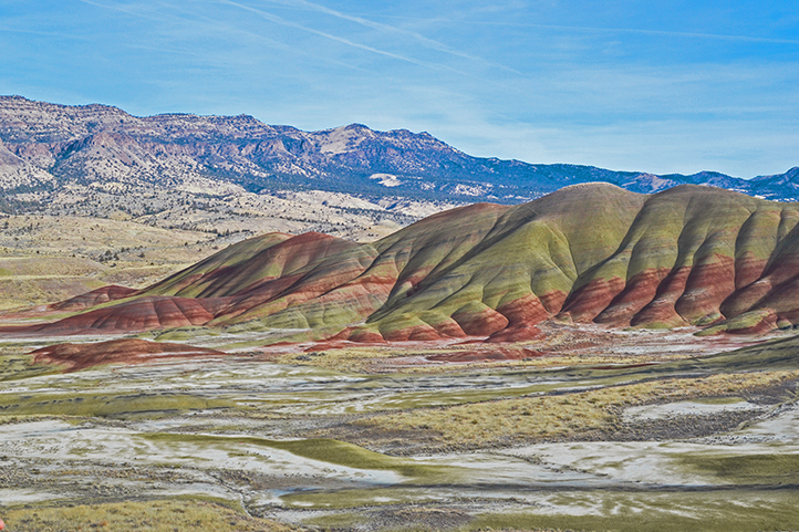 Painted hills, colorful desert hillside, in Central Oregon