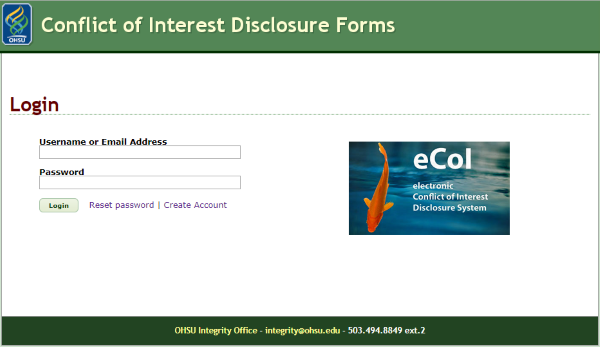 An image showing the eCoI system login page.
