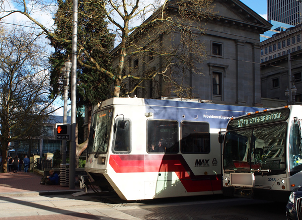TriMet MAX light rail and bus