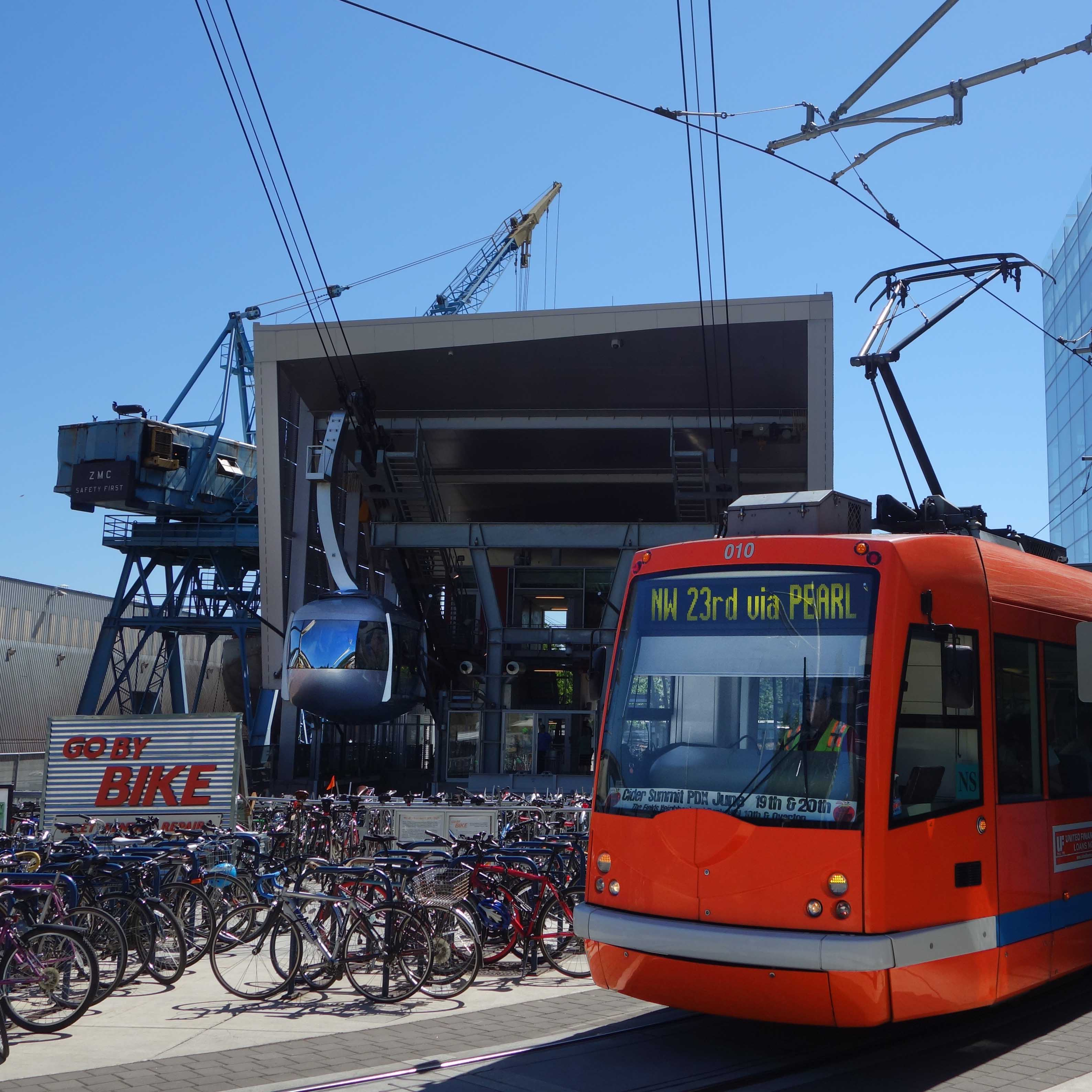 Streetcar, tram and bike valet