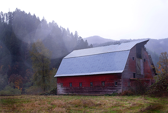 Big red barn in Tillamook Oregon in the fog