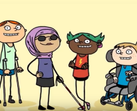 Illustrations from an Amaze video featuring characters of varied ethnicity and abilities