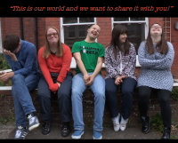 Still frame of a video from The Specials that includes five friends laughing on a bench