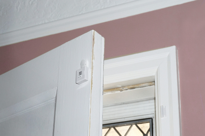 The door sensor, installed on a front door, measures how often someone enters or exits a home.