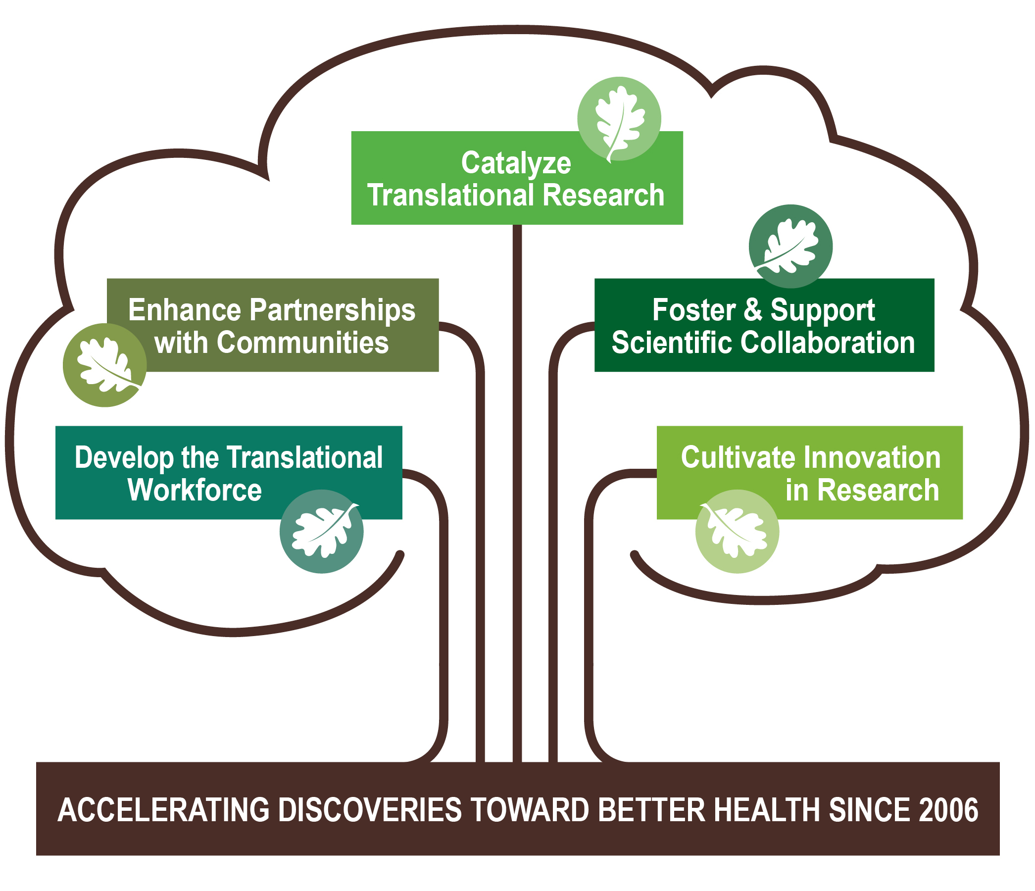 OCTRI strategic goals visualized on a tree.  Strategic goals are: develop the translational workforce enhance partnerships with communities, catalyze translational research, foster & support scientific collaboration, and cultivate innovation in research.  OCTRI has been accelerating discoveries toward better health since 2006.