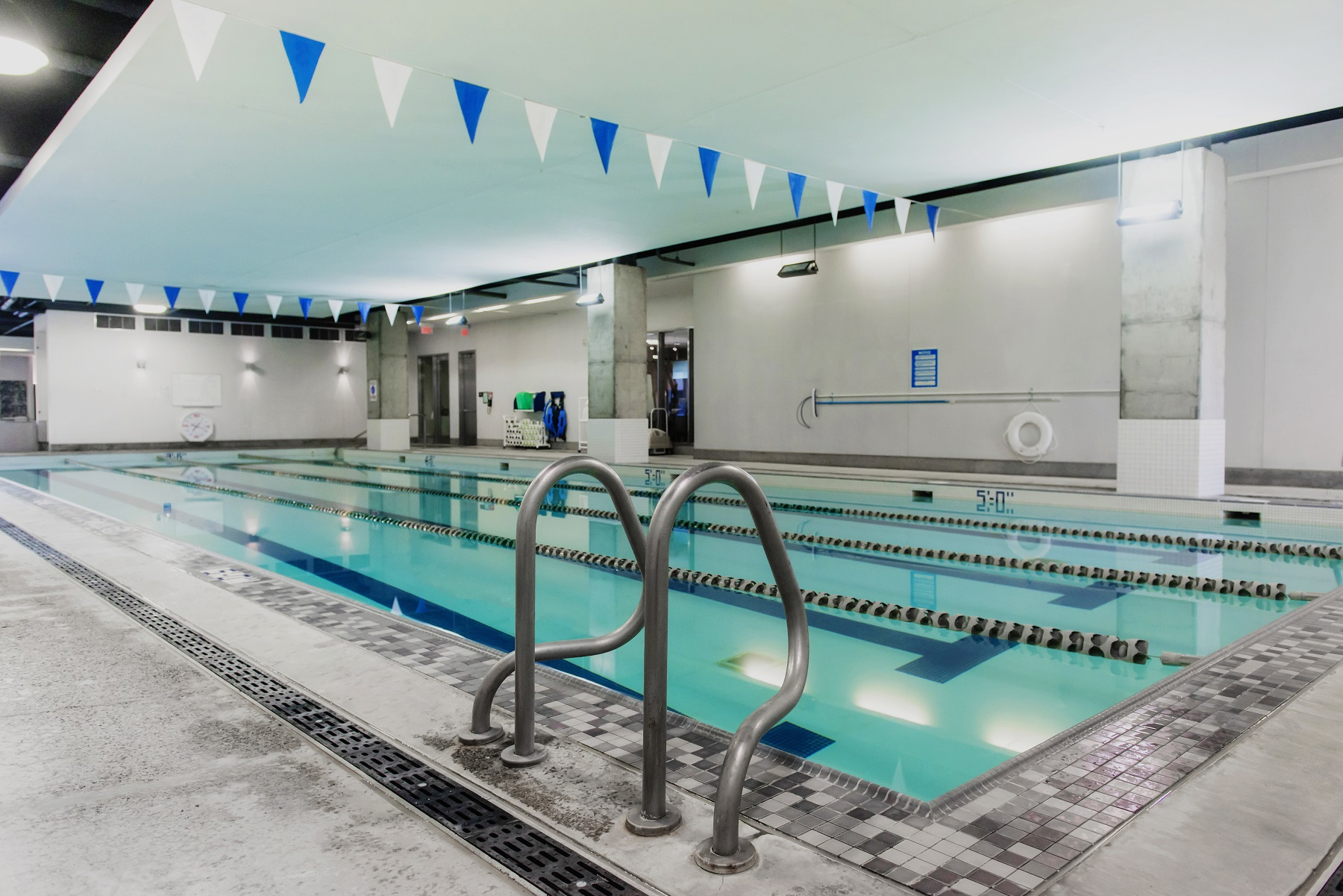 Wide view of four-lane lap pool.