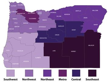 Purple map of oregon