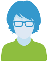 Navigator icon that is a blue avatar woman with short hair, glasses, and a green sweater