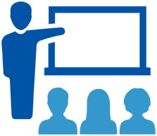 Standing teacher at a presentation board with three people in the audience icon