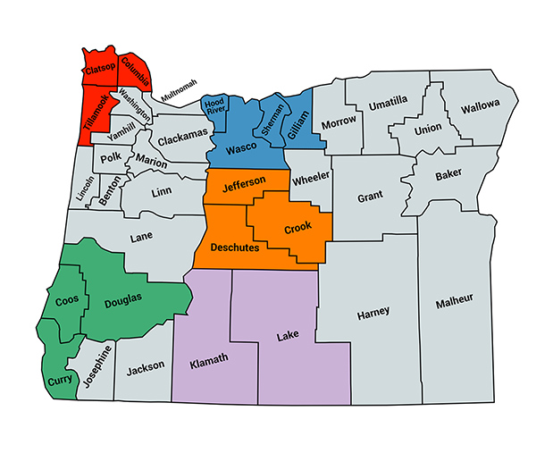 Image of map showing liaison regions in Oregon