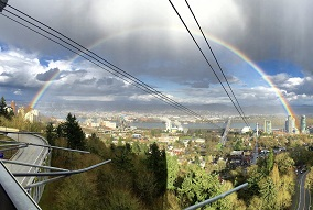 South Waterfront via the tram with a rainbow