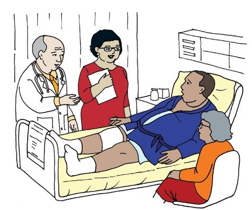cartoon image of man laying in hospital bed with doctor and family around him