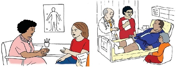 Illustrations show a woman meeting with a provider at a table and a man in a hospital bed listening to his doctor