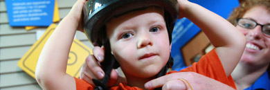 Boy in bike helmet