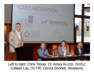 Picture of Chris Tobias; Dr. Amira Al-Uzri, OHSU; Colleen Lay, OCTRI; Dorota Shortell, Simplexity discussing their partnership around developing a technology for remotely collecting & monitoring patient blood samples.