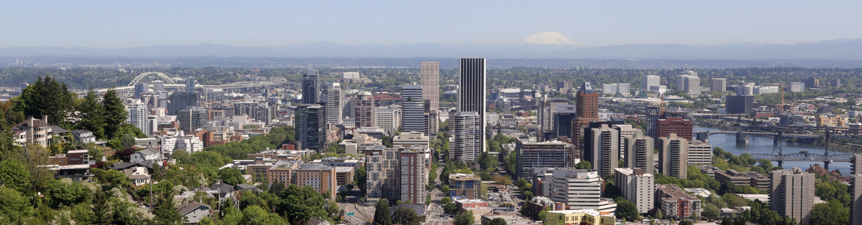 Panoramic view of the city of Portland from the top of the Vollum Institute