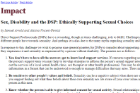 Screenshot of Impact newsletter article on sex, disability and the DSP
