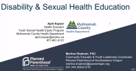 Preview of webinar titled Disability and Sexual Health Education