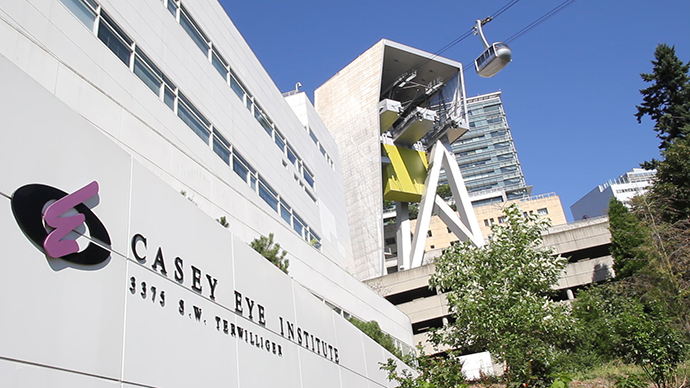 View of OHSU Casey Eye Institute with Portland Aerial Tram in the background.