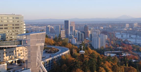 OHSU Campus and view looking at the city and skyline
