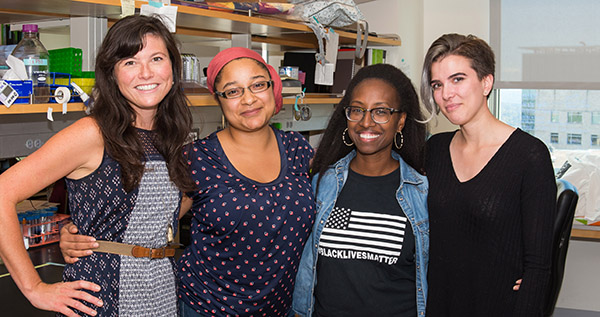 Current neuroscience graduate students and faculty (left to right) Kathleen Beeson, Antoinette Foster, Letisha Wyatt, and Luci Moore