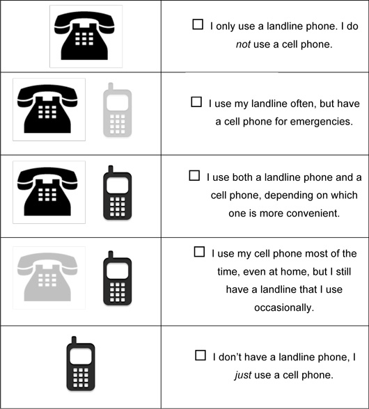 An example of a survey question used in the RITE study, asking about phone usage