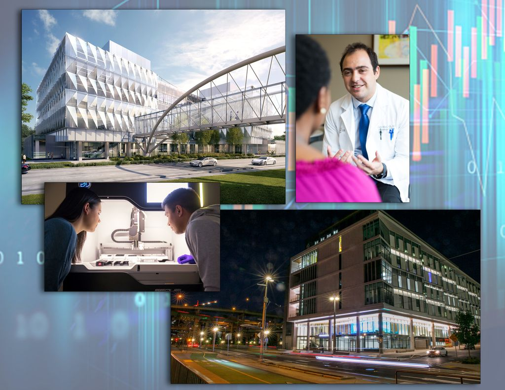Image collage showing buildings and people at U of O and OHSU