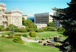 photograph aerial view of Baird Hall and the fountain from the direction of the old library auditorium on Marquam Hill campus
