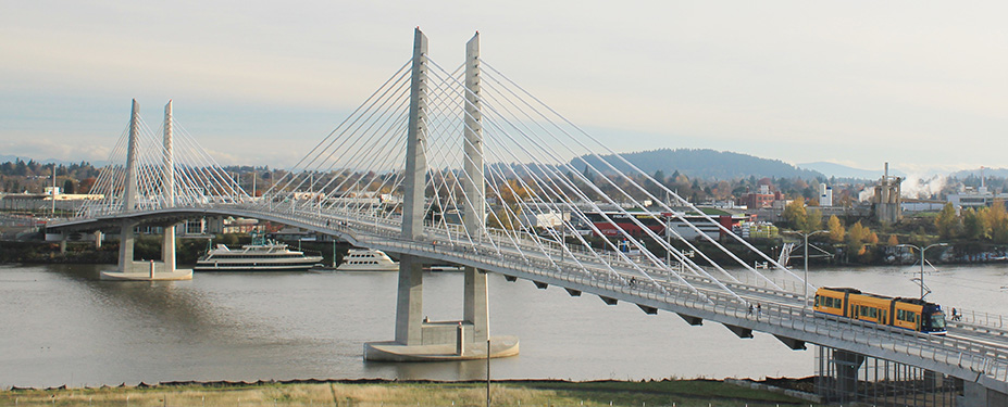 A view of Tilikum Crossing: Bridge of the People from the west end
