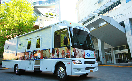 The mobile clinic van travels around Oregon providing free vision screenings to adults
