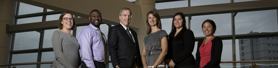Our Pediatric Brain and Spine Care Team: Dr. Rebecca M. Loret de Mola (from left), Dr. Jerry Jaboin, Dr. Nathan Selden, Dr. Kellie Nazemi, Dr. Lissa Baird and Dr. Christina Sayama.