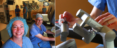 Robotic Surgery Care Providers, Drs. Edwards and Gregory, demonstrate a robotic surgical instrument