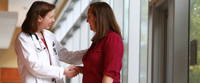 Doctor and patient greet each other at the OHSU Center for Women's Health