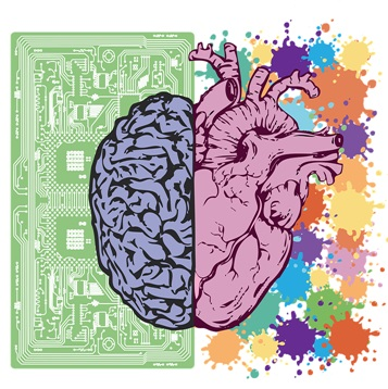 Colorful Brain over computer chip and heart with splattered paint drops