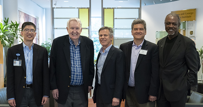 Dr. David Wilson with donor Paul H. Casey and leaders from OHSU and Casey Eye Institute