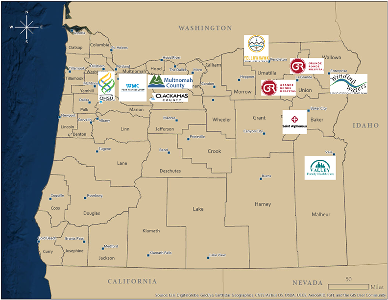 OPACT sites in Oregon map
