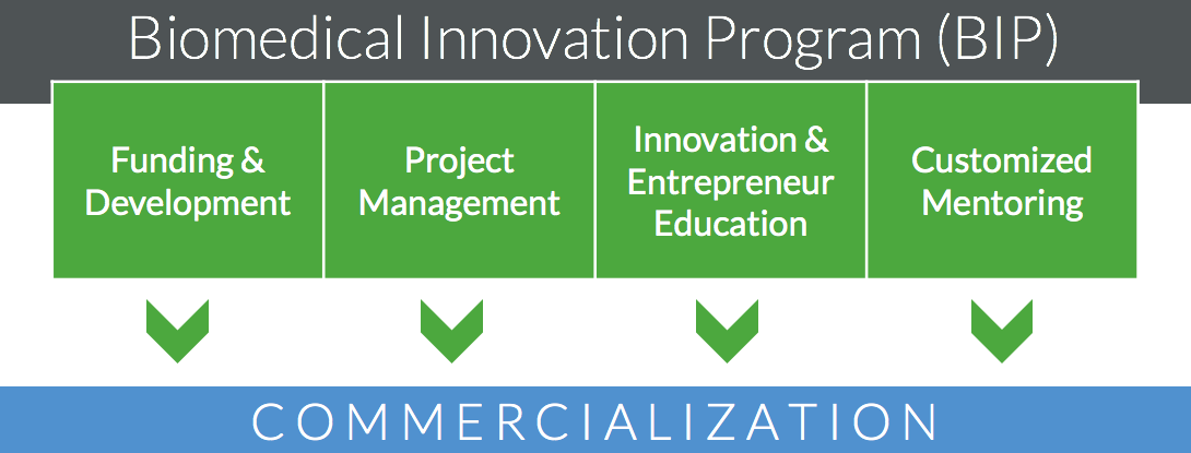 Diagram of Biomedical Innovation Program services to include funding & development, project management, innovation and entrepreneur education, and customized mentoring.  These services all drive technologies towards commercialization. See the pdf referenced in the first paragraph of the webpage for detailed text on these services.